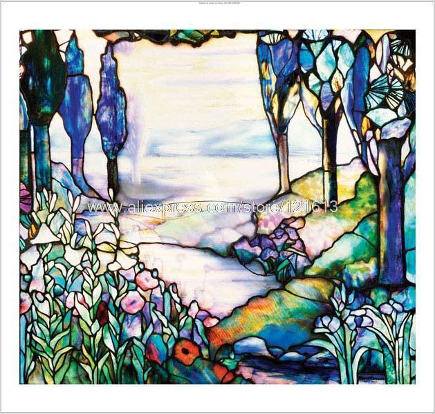 Decorative stained glass window new hand painted canvas for Painting on glass windows with acrylics