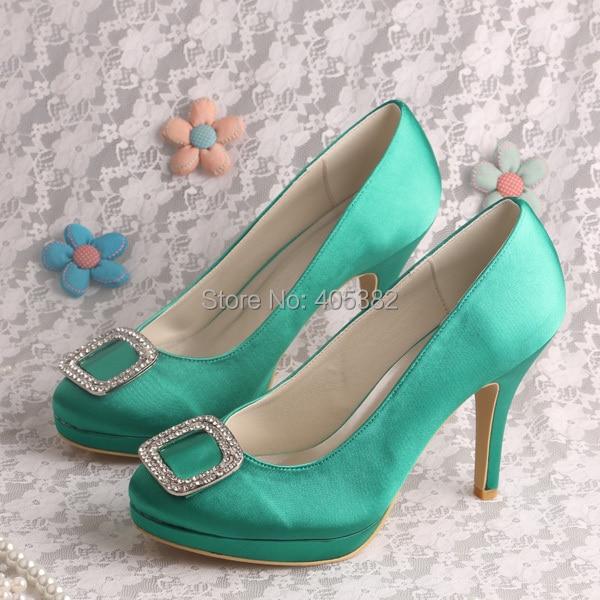 ФОТО Wedopus Shoes Women Spring Autumn Green Satin Party Wedding Platform with Rhinestone