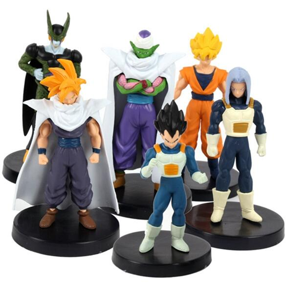 6PCS / Lot Dragon Ball Z PVC Figurines Set Lot Son Goku Vegeta Super Saiyan Freeza Broly Dramatisk Showcase Gotenks Kid Toy