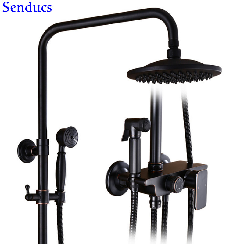 Senducs Black Shower Set Luxury Bathroom Shower System Of High Quality Brass Shower Set Black Top Shower Bathroom Chrome Set