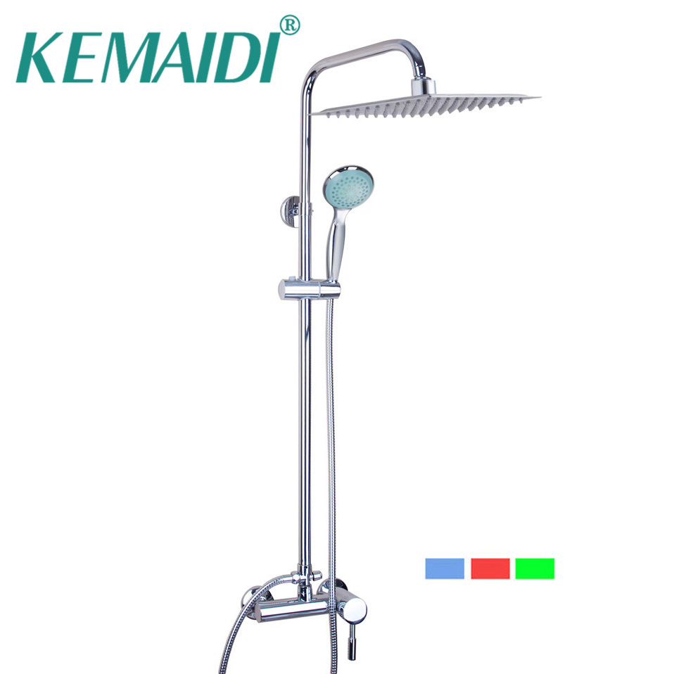 KEMAIDI Bathroom LED Polished Chrome Waterfall Rain Shower Faucet & Hand Shower Wall Mounted Bathroom Faucet And Shower Set bathroom led polished chrome waterfall rain shower faucet