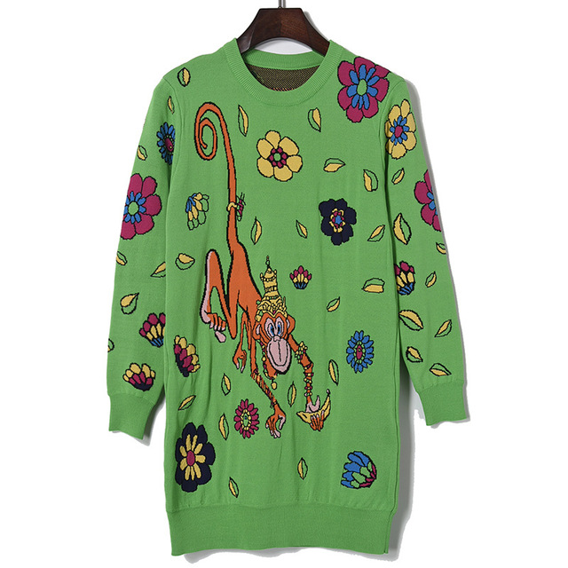 2017 spring new green cartoon monkey flowers in the long paragraph sweater