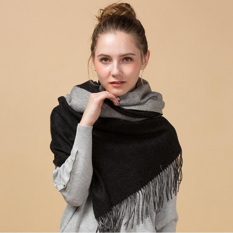 Double-Side Thicken 100% Lambs Wool Scarf Shawl f Women Winter Scarf 2017 Luxury Quality Scarves & Wraps Pashmina Cape 200x70cm