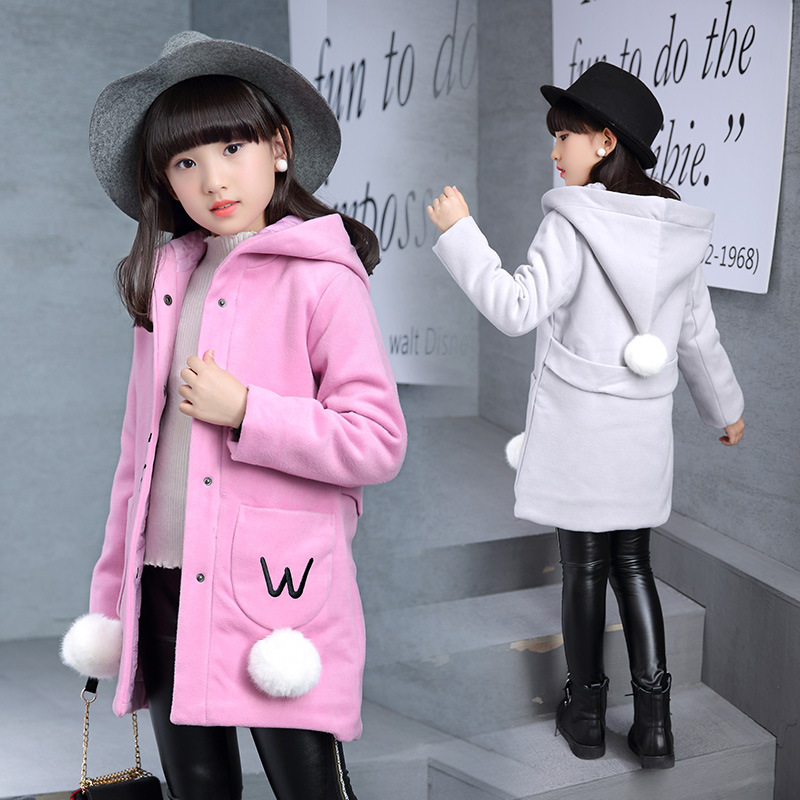 2018 Winter Girl Woolen Coat Jacket Fashion Hooded Single-breasted Outerwear Children Clothing For Students Teen 4-13 Years Old