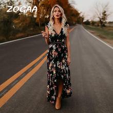 ZOGAA Boho Backless Floral Printed Hollow Out Women Summer Dress 2019 Black White V Neck Lace Maxi Long Evening Party Vestidos