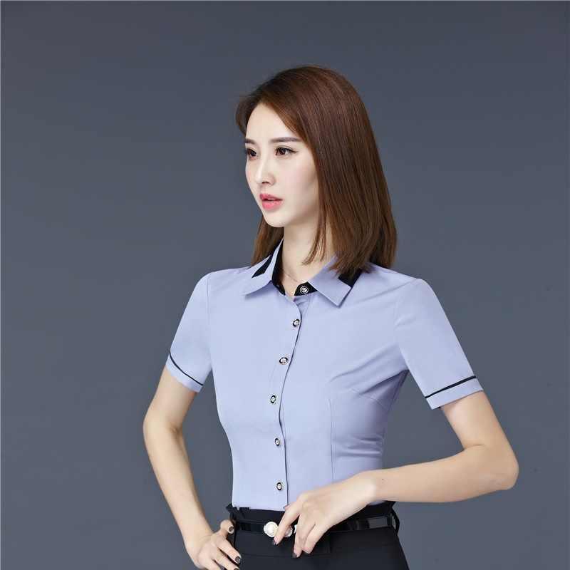 Yaz Kısa Kollu Resmi Zarif Slim Fit Bluzlar Gömlek Bayanlar Ofisi Iş Elbisesi Iş Kadın Üstleri Güzellik Salonu Elbise