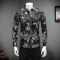 2017 Camisas Para Hombre Primavera Mens Ocasional Camisa de Manga Larga Slim Fit Camisa de Los Hombres Gira el Collar Abajo Floral Camisa de Negocios negro