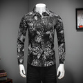 2017 Camisas Para Hombre Spring Mens Casual Shirt Long Sleeve Slim Fit Men Shirt Turn Down Collar Floral Business Shirt Black