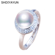 SHDIYAYUN 2019 Fine Pearl Ring 925 Sterling Silver Jewelry For Women Natural Freshwater Pearl Retro Zircon Round Rings Gift nymph seawater pearl bracelets fine jewelry near round natural pearl bangles for women gold trendy anniversary gift [s308]