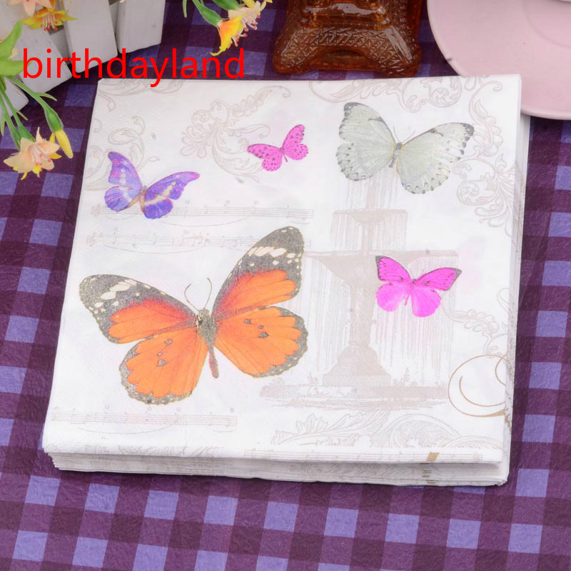 Min Order is $5,Food-grade Floral Butterfly Paper Napkin Festive & Party Tissue Napkins Decoupage Decoration 33cm*33cm