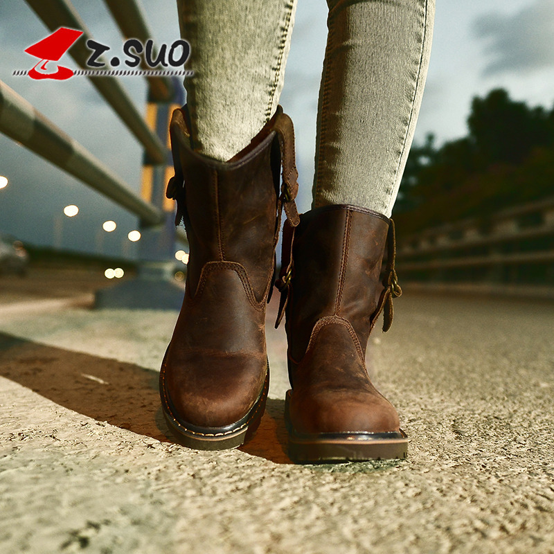 Image 5 - Z.SUO Genuine Leather Women Boots Leisure Mid calf Western Boots 2019 Spring Brown Boots Women Botas Mujer Chaussures Femme-in Mid-Calf Boots from Shoes