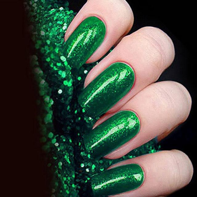 CNDSE 12 Colors Green Brick Nail Polish Jade Green Light Therapy Glue  Sequins Flash Brick Gemstone Plant Nail Glue