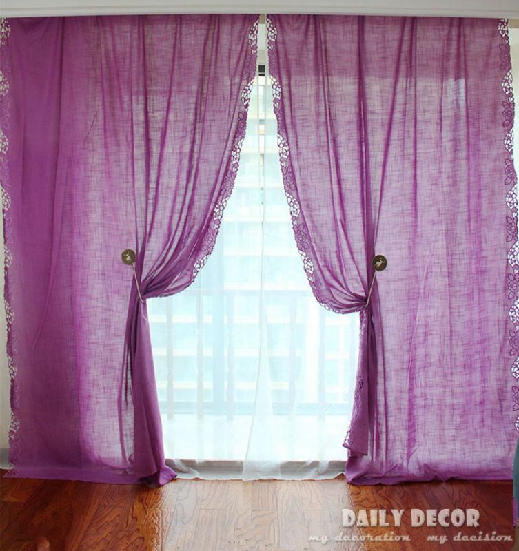 180*260cm ! cloth curtain + voile curtain Embroidered purple Finished curtains Las cortinas Rideau Le tende Der vorhang Gardin|voile curtains|finished curtains|cloth curtain - title=
