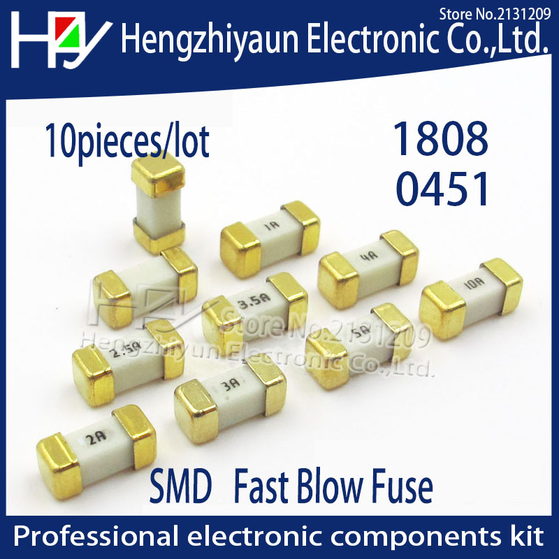 Hzy 10Pcs/lot 1808 125V 0451 SMD Fast blow Fuse 0.5A 0.75A 1A 2A 3A 4A 5A 6.3A 8A 10A 12A 15A 500MA 750MA 0451 ultra-rapid fuses 10pcs bt138 800e bt138 800 bt138 12a 800v to 220