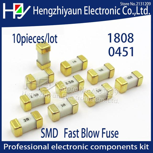 Hzy Gold foot 1808 125V 0451 SMD Fast blow Fuse 0.5A 0.75A 1A 2A 3A 4A 5A 6.3A 8A 10A 12A 15A 500MA 750MA 0451 ultra-rapid fuses
