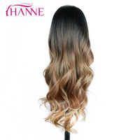 HANNE Black To Brown To Blonde 26 Long Wavy None Lace Heat Resistant Synthetic Ombre Wigs