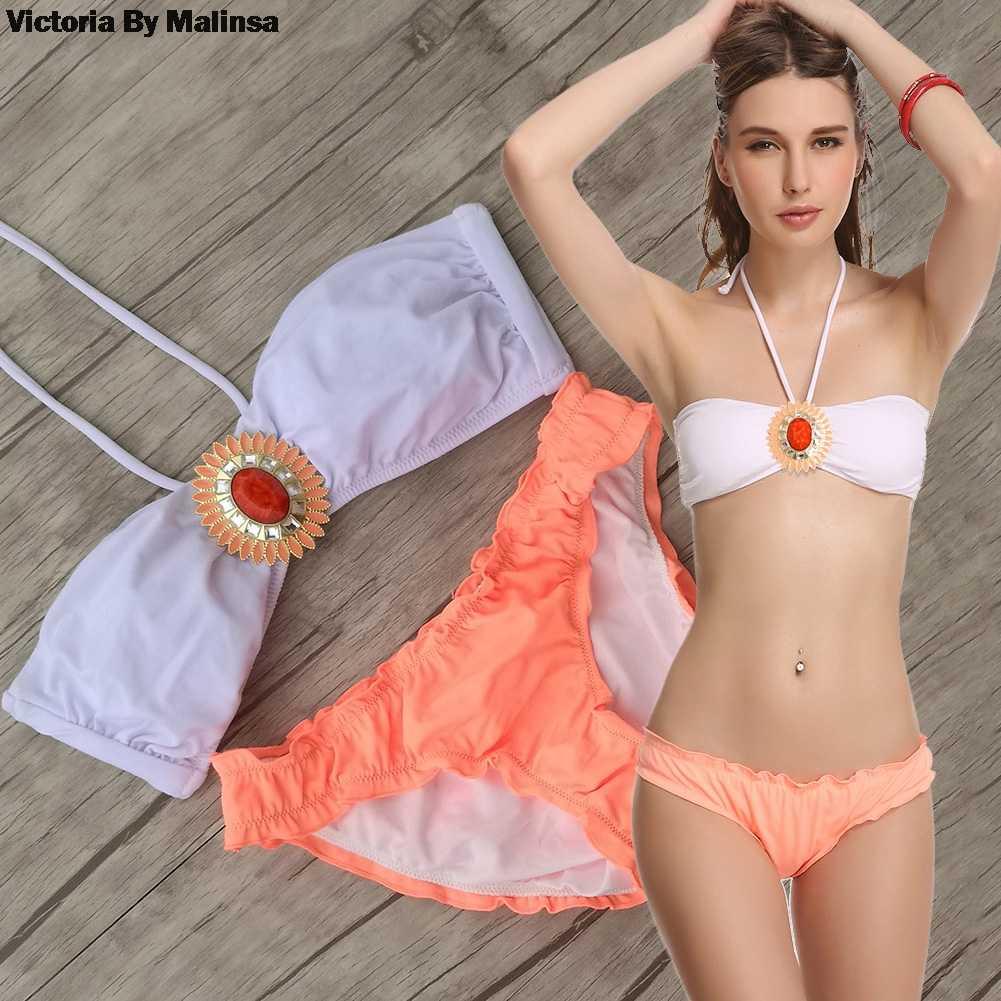 Женский набор купальников бикини Купальник бикини купальный костюм оранжевый Блестящий Брошь ЮВЕЛИРНЫЙ белый топ низ бразильский секретный сексуальный
