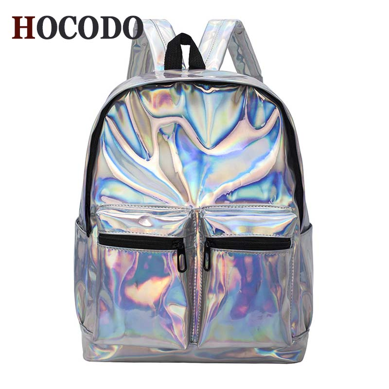 HOCODO  Women'S Silver Color Hologram Laser Backpack Men'S Backpack Fashion Travel Backpack For School Student backpack women