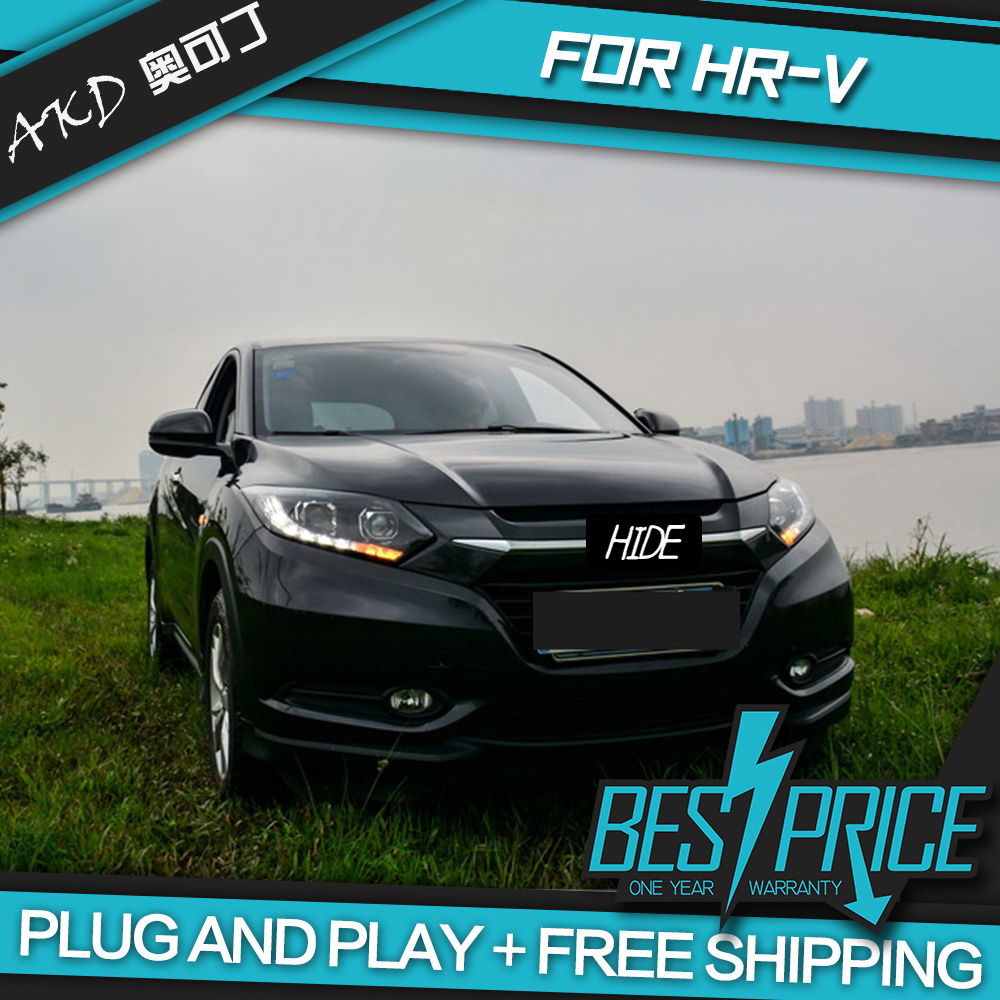AKD Cars Styling <font><b>Headlight</b></font> For <font><b>Honda</b></font> <font><b>HRV</b></font> 2014-2016 Vezel <font><b>Headlights</b></font> LED Running lights Bi-Xenon Beam Fog lights angel eyes Auto image