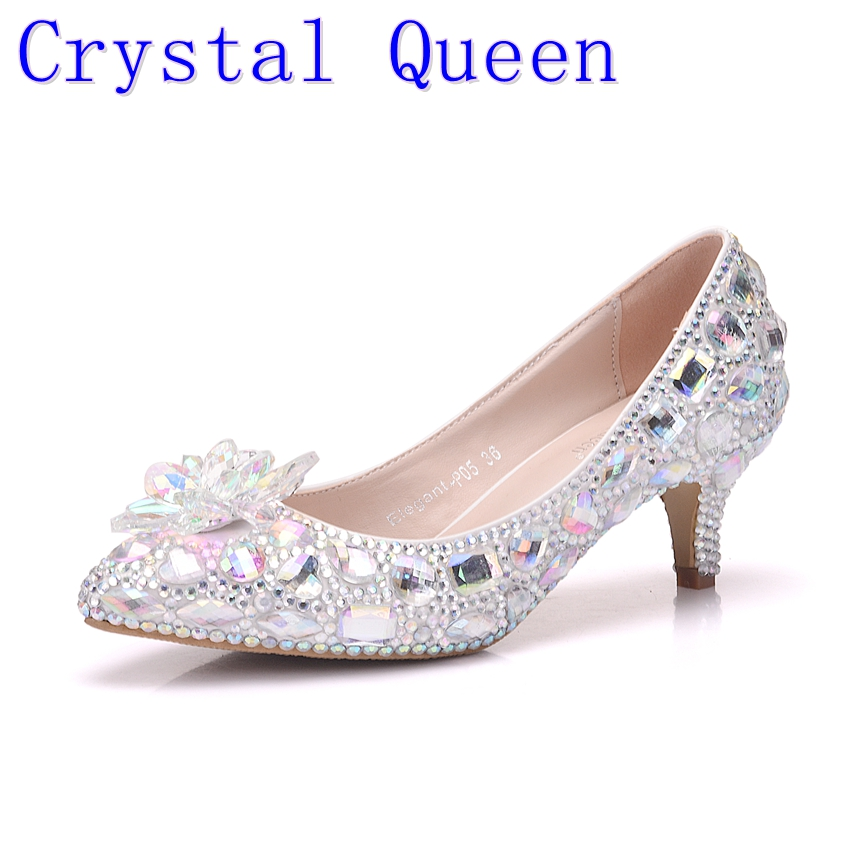 Crystal Queen 5cm Thick Heel Crystal Women Shoes Pumps 5cm Rhinestone Heels Silver Rhinestone Women Wedding Shoes Low Heels