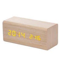 Brand New Temperature Sound Control Solid Wooden Desk Bedside Table Clocks Digital Alarm Clock Orange Light