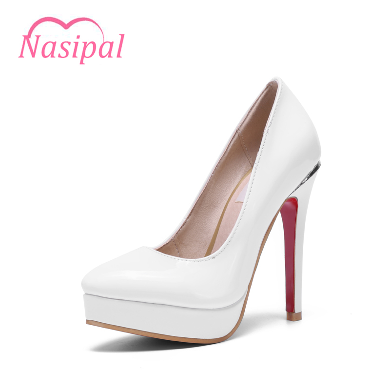 Nasipal Spring Autumn Women Shoes Fashion Pumps Woman Patent Pointed Toe Super High Heels Platform Heel Big Size30-48 Pumps C039 spring autumn shoes woman pointed toe metal buckle shallow 11 plus size thick heels shoes sexy career super high heel shoes