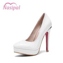 Nasipal Демисезонный модная женская обувь Насосы женские лакированные острый носок очень высокий каблук на платформе большой Size30-48 Насосы C039