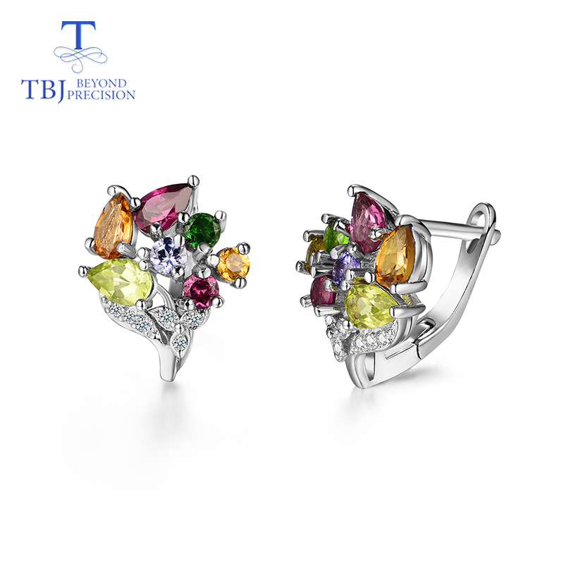 TBJ,100% natural mix gemstone earring,Romantic flower design gemstone earring in 925 silver for girls with Valentine gift  boxTBJ,100% natural mix gemstone earring,Romantic flower design gemstone earring in 925 silver for girls with Valentine gift  box