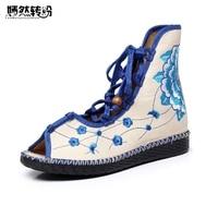 Wegogo Women Flats Shoes National Floral Embroidery Canvas Linen Cross Strap Ballet Flat Soft Shoes Woman