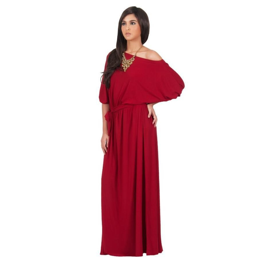 Fd6520 Women Solid Color Batwing Sleeve Tall Dress Slash Neck