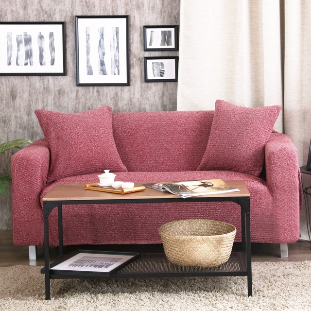 Red Wine Stretch Furniture Covers Knitted Fabric Corner Sofa Cover For Living Room Polyester Couch