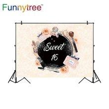 Funnytree customize vinyl photography backdrop pastel perfume flower cosmetic sweet 16 teenage photo studio photobooth photocall