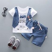 цены на Summer Baby Boys Clothing Sets Cartoon lattice Tie T-shirt + Shorts 2 pieces set Boy Clothes  в интернет-магазинах