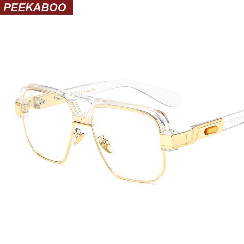 Peekaboo matte black square big frame clear glasses semi-rimless mujeres hombres optical frame gafas transparentes 2017