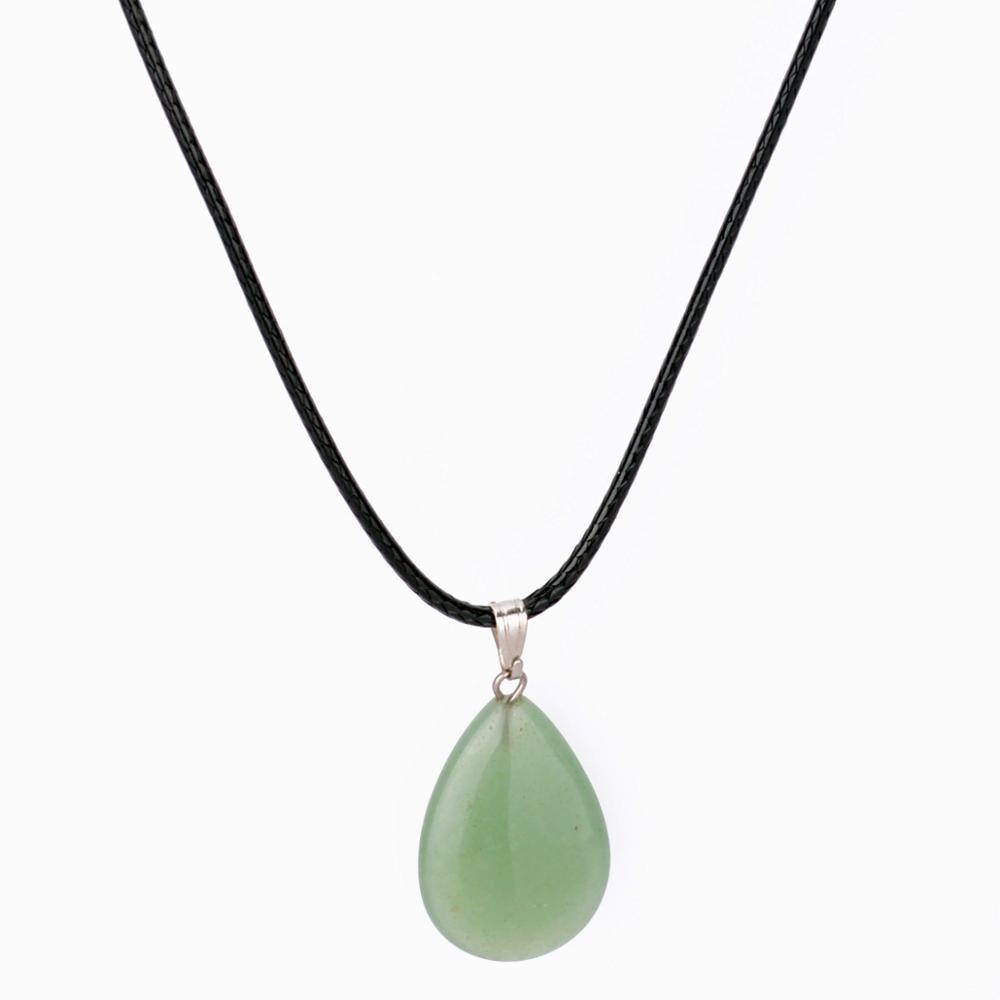 Natural Stone Quartz Charms Cross Pendant Necklace Women Men Jewelry Choker Gift