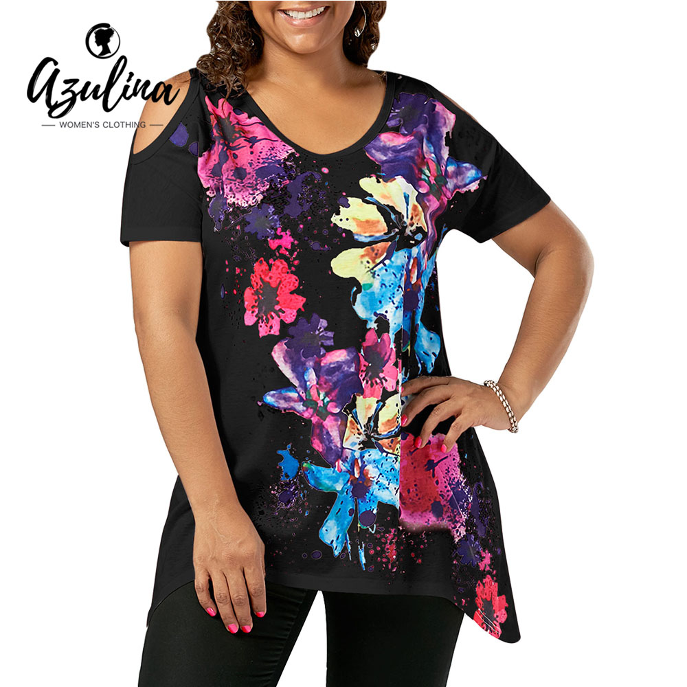c235f9ebf2ef4 AZULINA Plus Size Splatter Paint Cold Shoulder T shirt Women Short Sleeve T  shirt Summer Top 2019 Casual Ladies Tops Clothing-in T-Shirts from Women s  ...