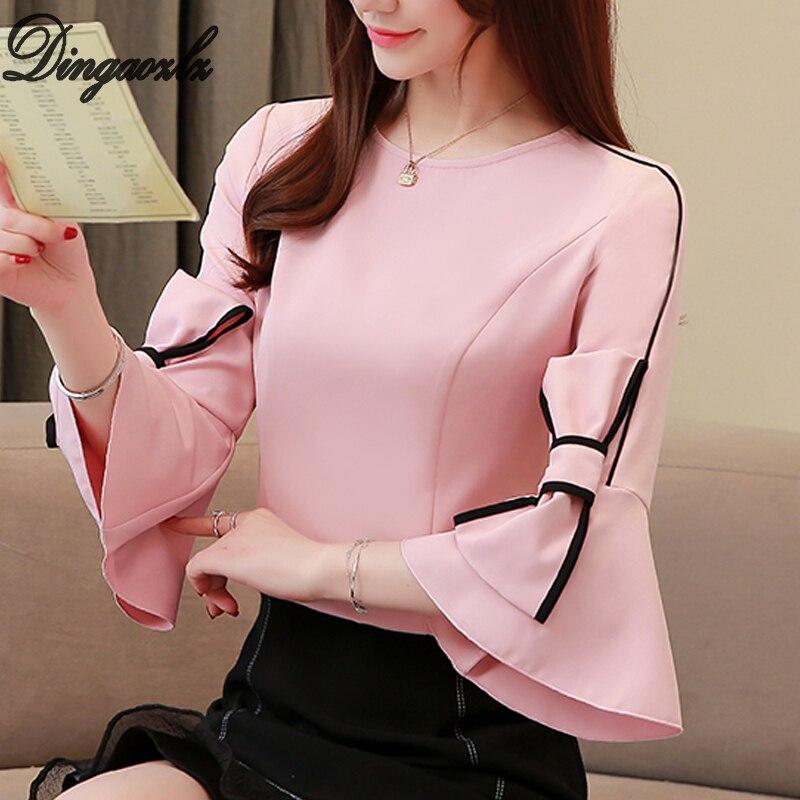 17111e6e80cf Dingaozlz arco costura Blusa de gasa de 2019 nuevo coreano moda gasa OL  camisa casual ropa de mujer tops
