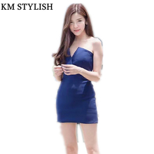 [NEW SALE] 2017 Fashion Tube Top V-neck Party Dress Slim one-piece Dress Blue, Pink,Red Color