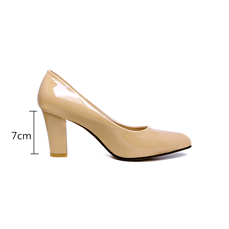 Image 3 - Plus size 46 2019 Fashion Classic Women Pumps Thick High Heels Shoes Solid PU Leather Nude Red black Office Wedding Shoes Womanwedding shoeswedding shoes womenwomen pumps -