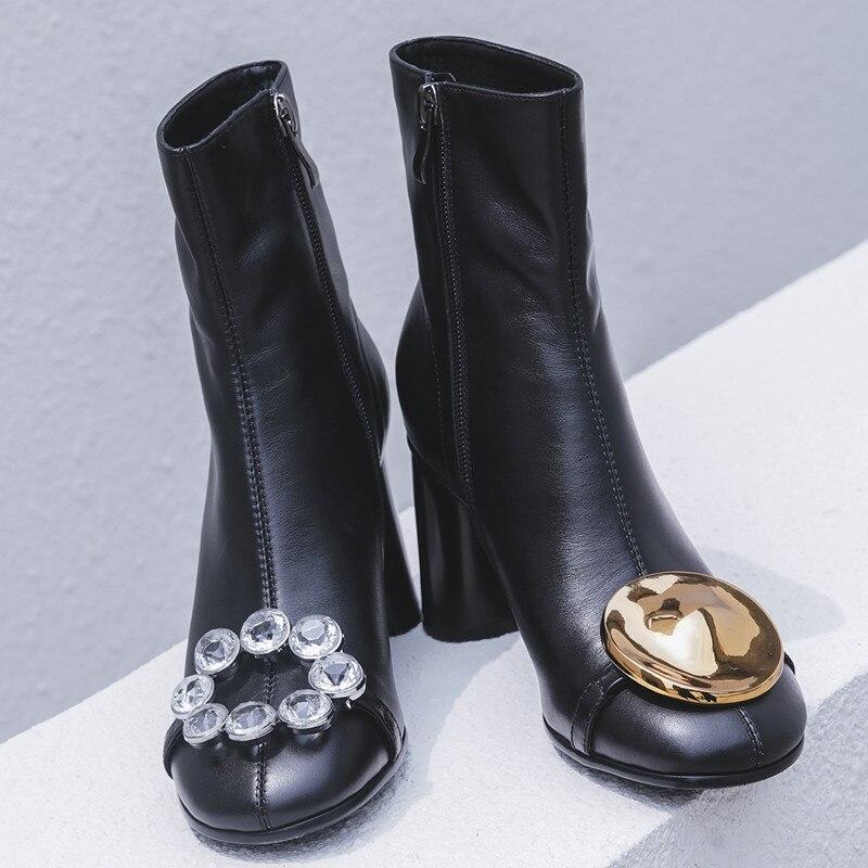 79d982446f Mujeres Mujer Oro Cremallera Real Para Las Imitación Botas Lateral Metal De  Diamantes Corto Alto Tobillo Black Perfetto Tacón Cuero Prova Botón wq7AXw