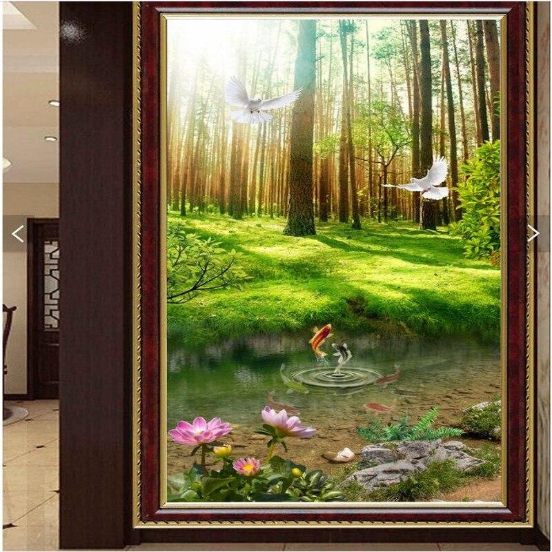 Freies Verschiffen Nach Pastorale Landschaft Mural Gang Veranda Schlafzimmer Wohnzimmer Tapete 3d Stereo Wald