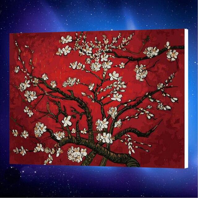 50x65 Cm Burung Di Pohon Oli Lukisan Pewarna Oleh Angka Angka Di