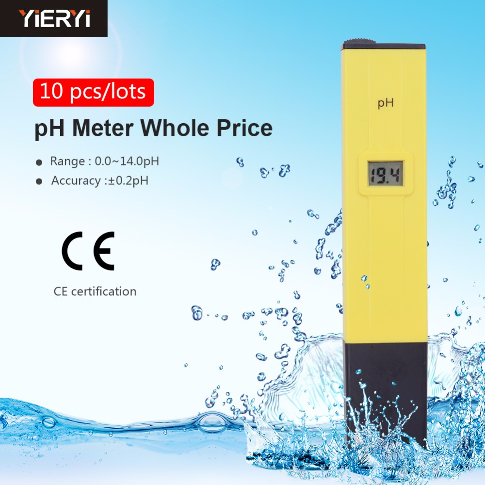 10pcs New Hot Sell High Quality Pocket Pen Water PH Meter Digital Tester 0 0 14