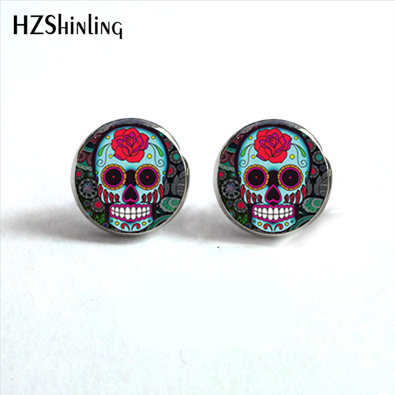 Earring Halloween Jewelry Studs Sugar Skulls Gifts Glass Men for HZ4 NES-0075 Cabochon