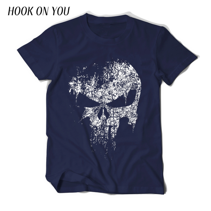 summer new casual Punisher Skull Marvel   t     shirts   for man streetwear hip hop Comics Supper Hero Men   T  -  Shirt   fashion Tops Tee