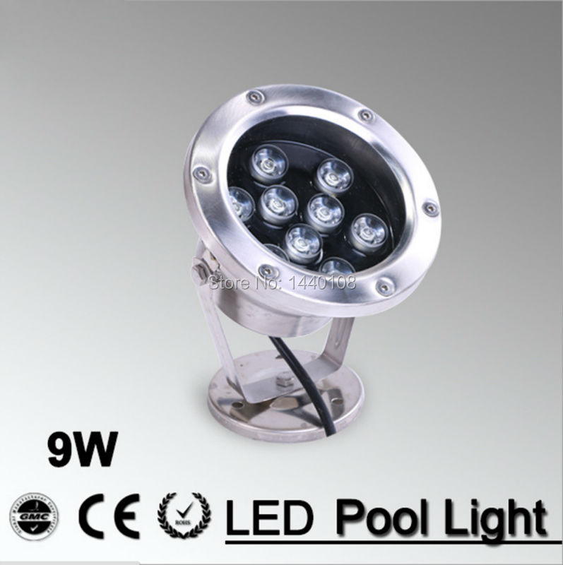 5pcs/lot 9W LED Fountain lamp Stainless steel IP68 AC12V AC24V Swimming Pool/Ponds/Fountain colorful decorative lighting