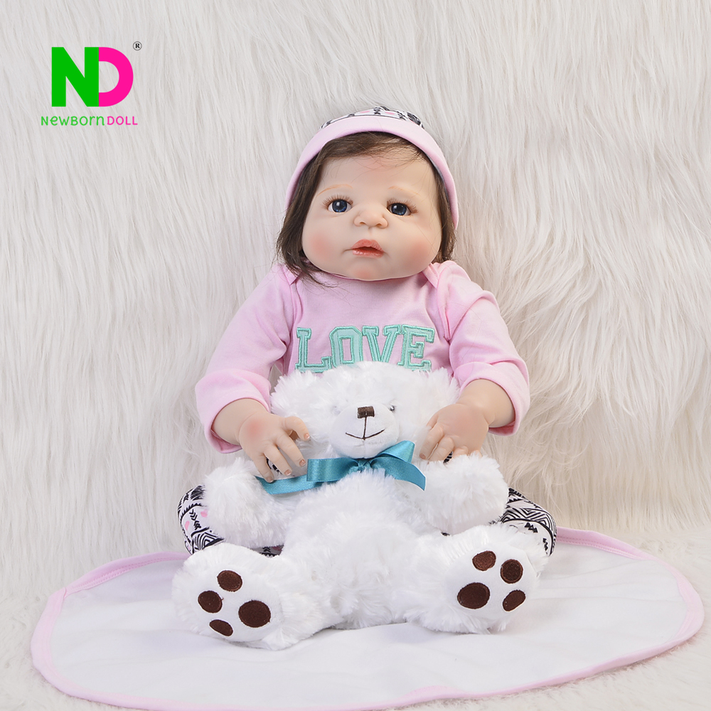 Realistic Doll Reborn Full Body Silicone Babies Vinyl Girl Toy 23'' Lifelike Reborn Baby Dolls Kids Playmates Gift For Menina lifelike russian babies girl 23   reborn