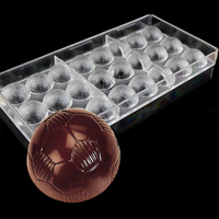 Clear 3 D Diy Plastic Football Shaped Candy Molds Polycarbonate Chocolate Mold Tray PC Pudding Mould  Soccer Mold