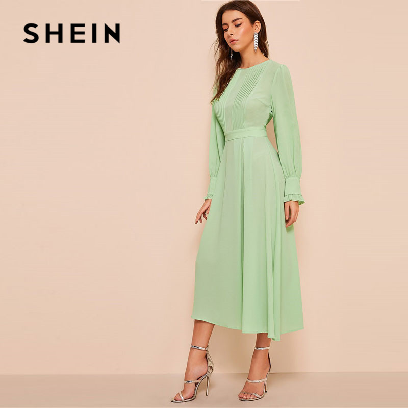 SHEIN Frilled Cuff Pleated Panel Fit And Flare Maxi Dress Women's Shein Collection