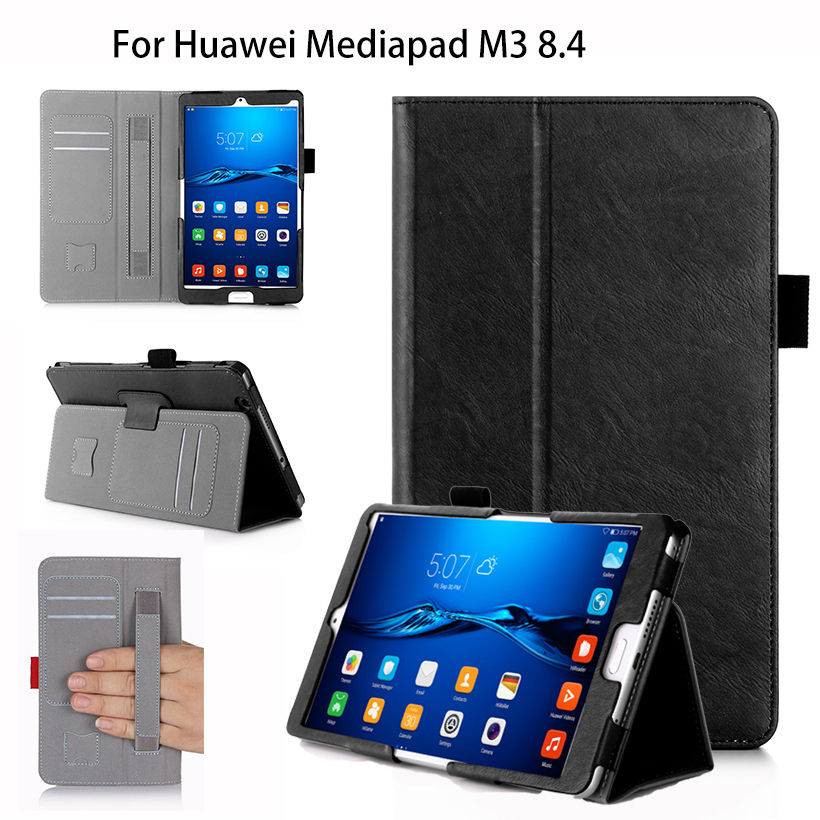 High quality PU Leather Case For Huawei MediaPad M3 BTV-W09 BTV-DL09 8.4 inch Cover Tablet WIth hand Holder Auto Sleep Wake Case image